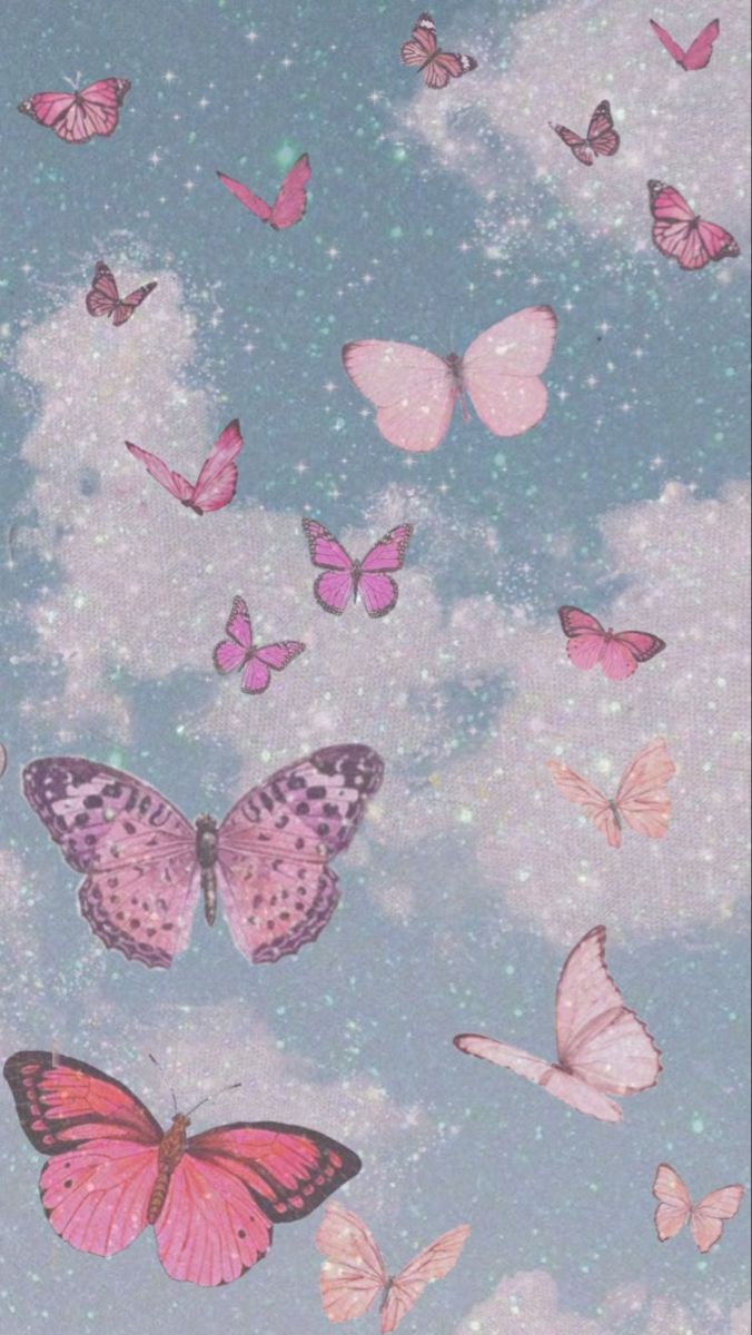 Pink Aesthetic pink butterflies | Butterfly wallpaper ...