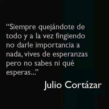 """You're always complaining about everything and at the same time you're pretending that you don't care about anything, you live of hopes but you don't even know what you're hoping for..."" -Julio Cortazar"