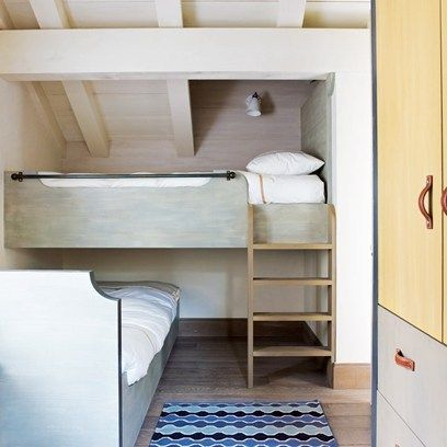 Clever Bunkbeds I can see this for the bed on top and a sofa area on the bottom. Sofa could be rollable to move it in and out for use/storage.