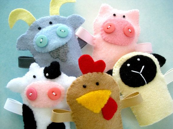 Farm Animal Felt Finger Puppets Sewing Pattern - PDF ePATTERN for Goat, Pig, Cow, Hen, Sheep & Carrying Case via Etsy