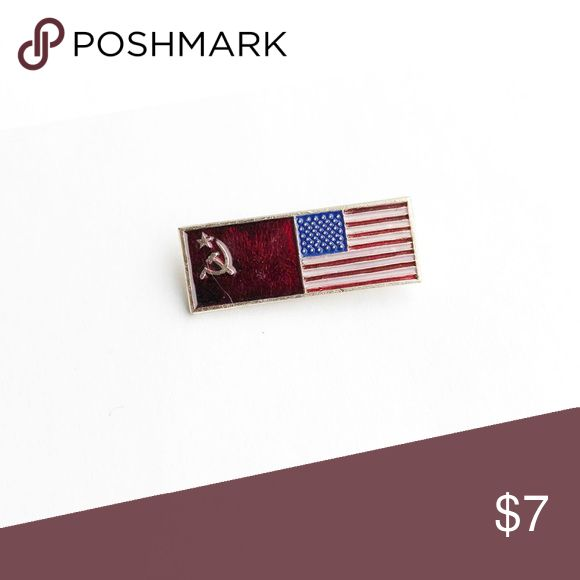 """Vintage US & Soviet Union Flags Enamel Pin Vintage USA & Soviet Union Flags Enamel Pin  • true vintage • 1"""" x 1/2"""" • colors: red, white, blue, silver • tags: russian, world travel, allies, ally, Moscow, hat, lapel, vest, brooch, jacket • all of the pins I sell are vintage and may contain minor nicks, imperfections, or oxidation Vintage Accessories"""