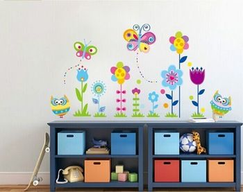 Removable Cartoon DIY New arrival Owl flower Butterfly sticke Art Vinyl Home Wall Stickers Decor Mural Decal kids room JM5116