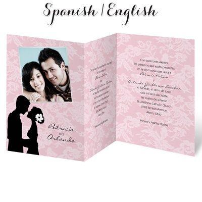 9 best spanish wedding invitation wording images on pinterest bonita silueta spanishenglish wedding invitation i print your wording in both languages stopboris Image collections