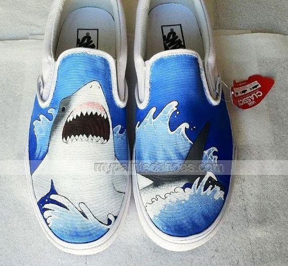 #Shark Shoes Hand Painted Shoes Slip-on Painted Canvas Shoes
