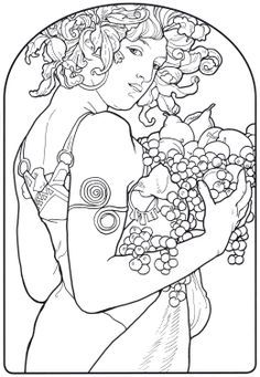 mucha coloring pages | Fruits by Alphonse Mucha. Part of the Alphonse Mucha coloring book