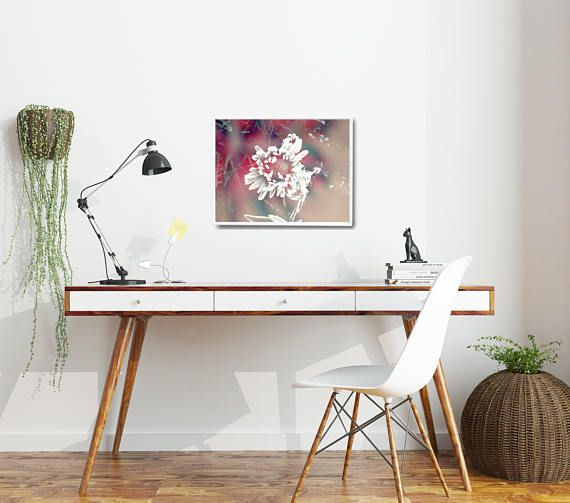 Large pink art print with a gentle detail of flower head with frost crystals. Inspiring and natural decor in a feminine color palette. This modern art print is available in multiple sizes: 8 x 10 in, 12 x 16 in, 16 x 20 in, 18 x 24 in, 24 x 36 in. +++ #homeoffice #officedecor #pinkprint #pinkposter #floraldecor #feminine #moderninteriors #kacixart