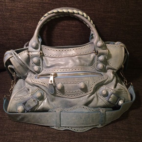 e425c23680 Balenciaga Giant City Handbag Authentic, light blue lamb skin, silver  hardware, removable straps, cotton-lined interior. Gently used w…