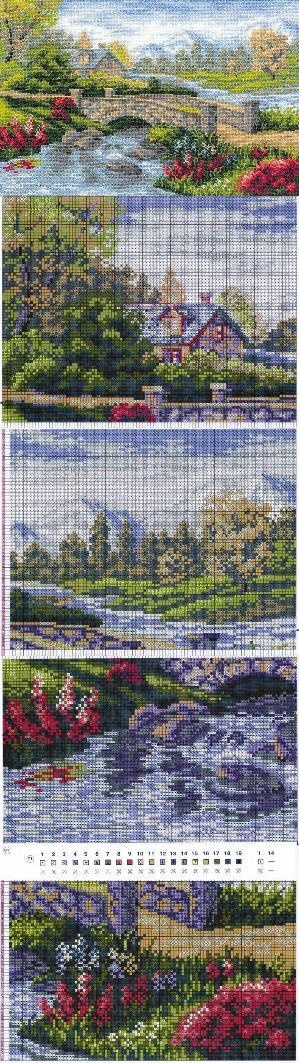 El paisaje veraniego el Esquema del bordado »el Bordado, el bordado por la cruz, el bordado del esquema