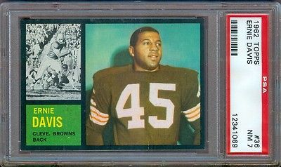 1962 TOPPS FOOTBALL #36 ERNIE DAVIS ROOKIE BROWNS PSA 7 NICE!
