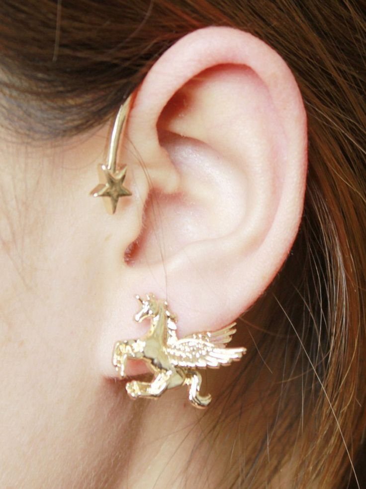 Golden Star And Unicorn Embellished Ear Cuff
