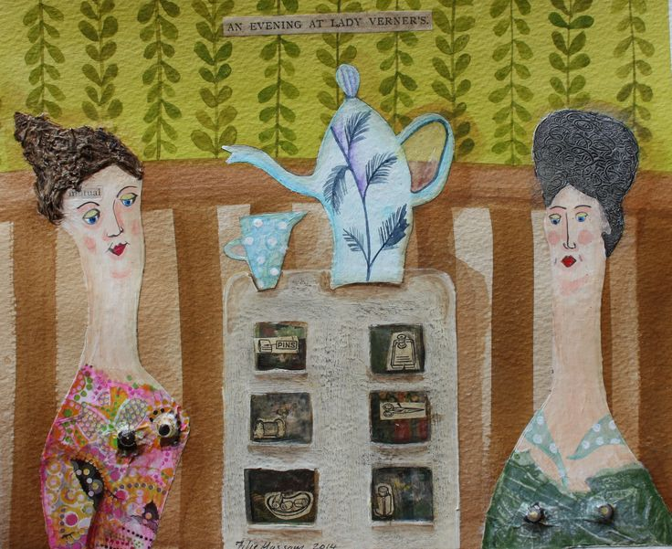 Tea With Lady Vernier: Ginny Rose, watercolour and collage