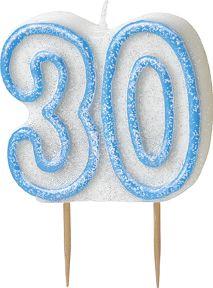 Vela edad 30 años azul: Esta vela representa el número 30.Esta vela es blanca con contornos azules brillantes.La vela se sujeta con dos palillos.Esta vela es ideal para completar la decoración de tartas de...