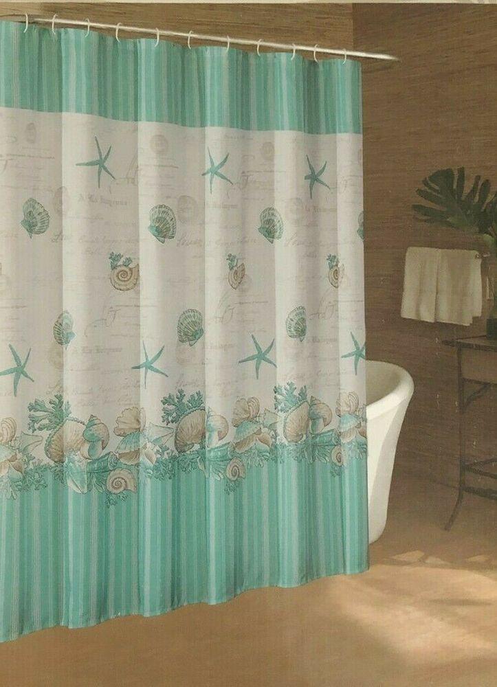 Caribbean Joe Fabric Shower Curtain Shell Wreath Beach Summer