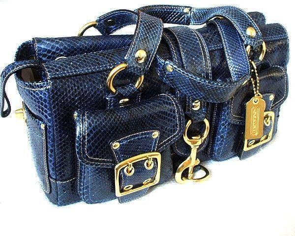 COACH Ltd Ed MIDNIGHT BLUE GENUINE PYTHON LEATHER LEGACY TOTE BAG SATCHEL PURSE #Coach #HandbagPurseTotesSatchel
