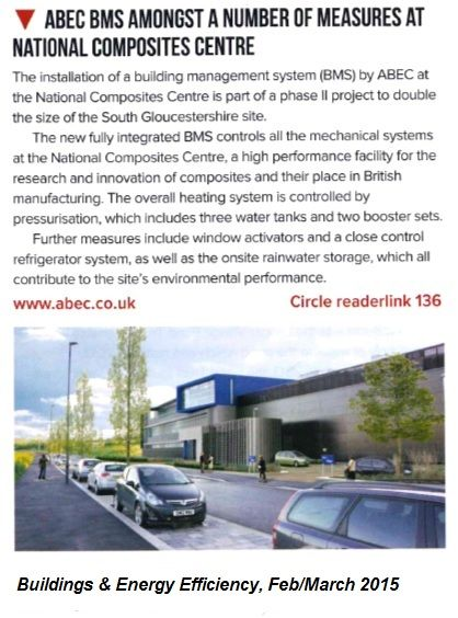 ABEC BMS amongst a number of measures at National Composite Centre, B&EE journal