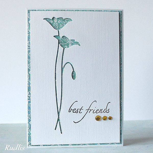 clean and simple card with Memory Box flowers cut out...like the printed paper used to back the die cut out....