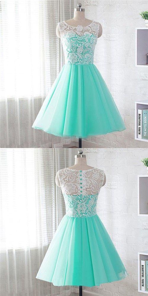 short homecoming dresses,mint green homecoming dresses,tulle lace homecoming dresses