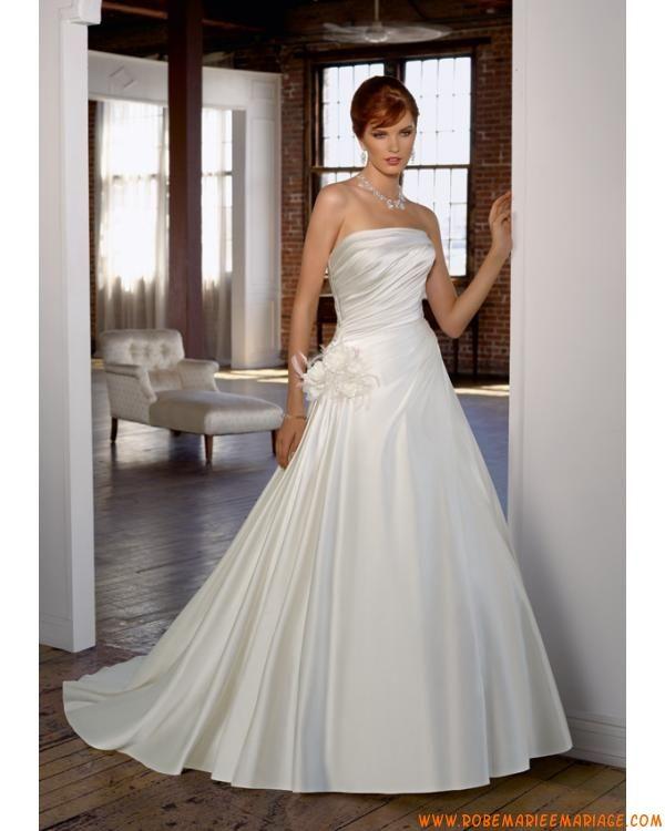 Robe de mariée pas cher prestigieuse sans bretelle agrémentée de plis en satin