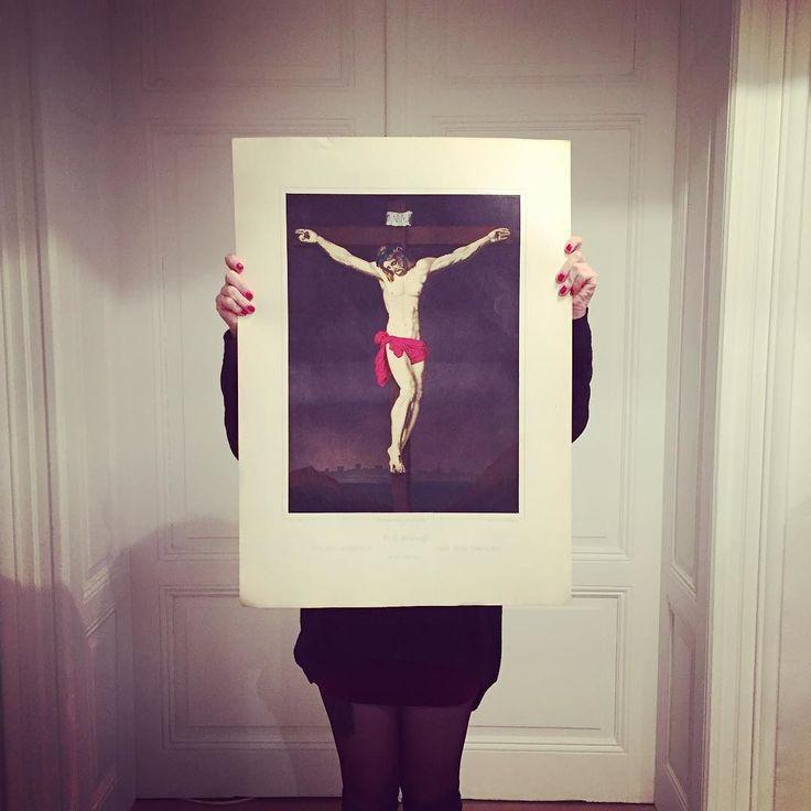 Jésus sur la croix #lithographie #wentzel