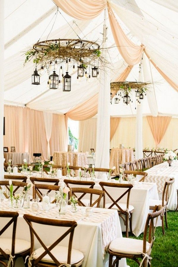 Romatic Blush Pink Wedding Tent with Rustic Lantern Chandelier / http://www.deerpearlflowers.com/wedding-tent-decoration-ideas/