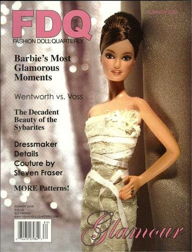 """FDQ Doll Magazine 2008 Summer Sybarite Pattern Doll Articles Dollikin Doll Ads   eBay E-Z Glam Blouse and Skirt for 11.5"""" Barbie and Midge    Faux Fur Coat for 16"""" Fashion Dolls by Angela Wade  Sybarite by Candlelight evening gown pattern by Pam Tobey"""