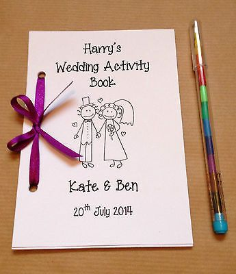 Personalised Cartoon Children Wedding Activity Pack Book Gift Favour 13 Colours in Home, Furniture & DIY, Wedding Supplies, Other Wedding Supplies | eBay