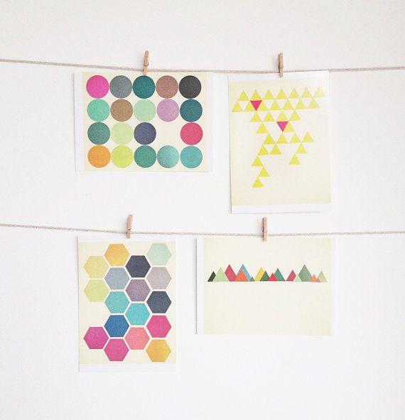 Arte cartolina impostata, motivi geometrici, arte accessibile, moderno cancelleria, idee regalo - geometriche