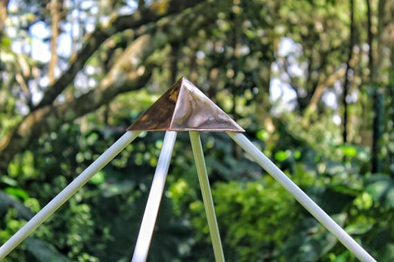 This Meditation Pyramids is made of 1/2 inch aluminium pipes. we used TIG aluminium welding (Aluminium wire welding not other metals involved) for connectors we used solid 1/2 inch rods and copper capstone is made up on 1 MM sheet, to make the connectors we used laser pipe computerized