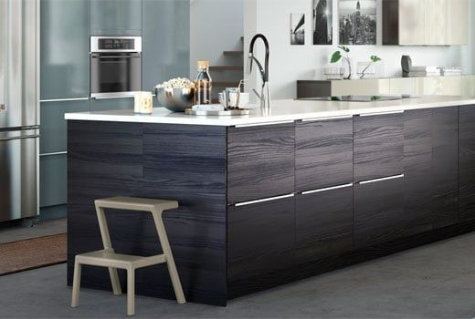 Ikea Sektion Kitchen Cabinets With Tingsryd Black Brown Drawers And