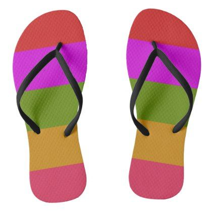 #bright purple green red stripes flip flops - #womens #shoes #womensshoes #custom #cool