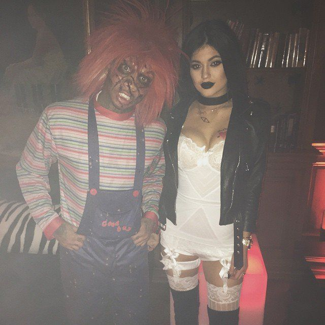 Pin for Later: Look Back at All of Last Year's Memorable Celebrity Halloween Costumes! Kylie Jenner as a Bride and a Friend as Chucky