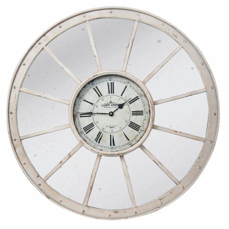 Landelijke klok/spiegel van wit metaal 80cm. Vintage verweerde spiegel met witte klok in het midden.