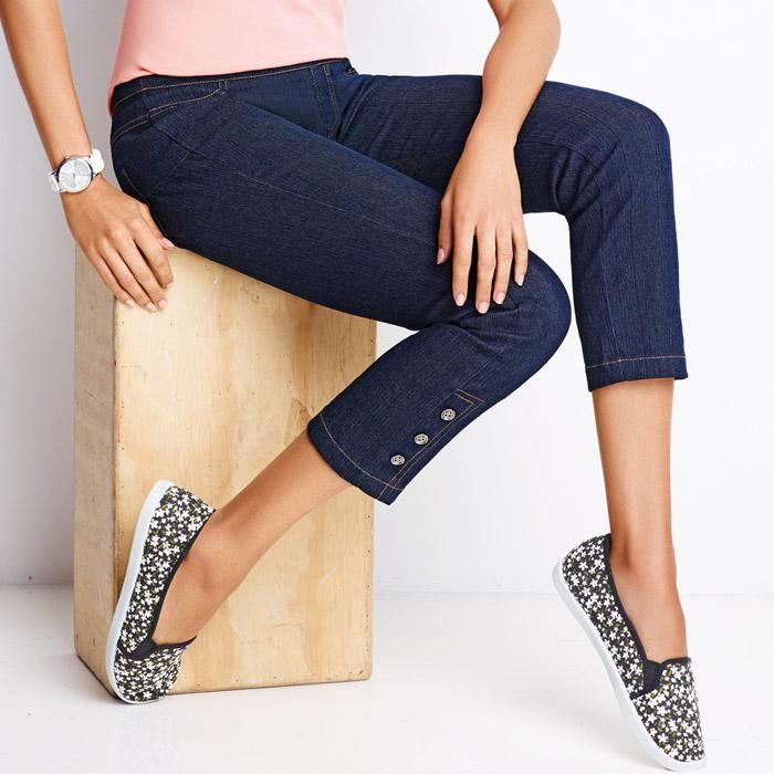 "Chic capri-length pull-on jeans with decorative buttons at the ankle. Features functional back pockets and 3 decorative buttons at bottom of jeans.· 78% Cotton, 20% Polyester, 2% Spandex· Waistband at top edge: 32 1/2"" (medium); 44 1/2"" (2X)<· Inseam: 24"" for all sizes· Wash before wearing. Turn garment inside out; machine wash on gentle cycle; cold with like colors; do not use chlorine or non-chlorine bleach. Tumble dry, low; remove promptly; warm ..."