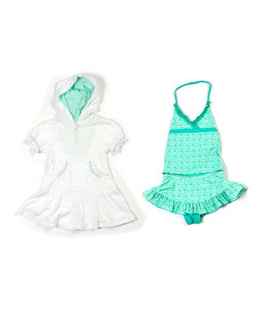 Another great find on #zulily! Aqua Spring Greens Tankini & Cover-Up - Infant & Girls #zulilyfinds