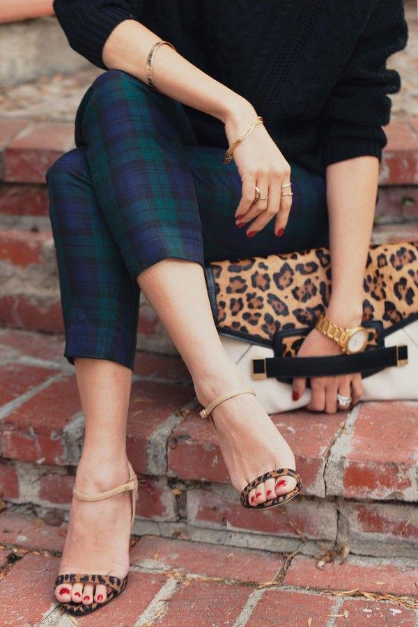 Tartan plaid skinny pants - leopard heels - black sweater - leopard clutch