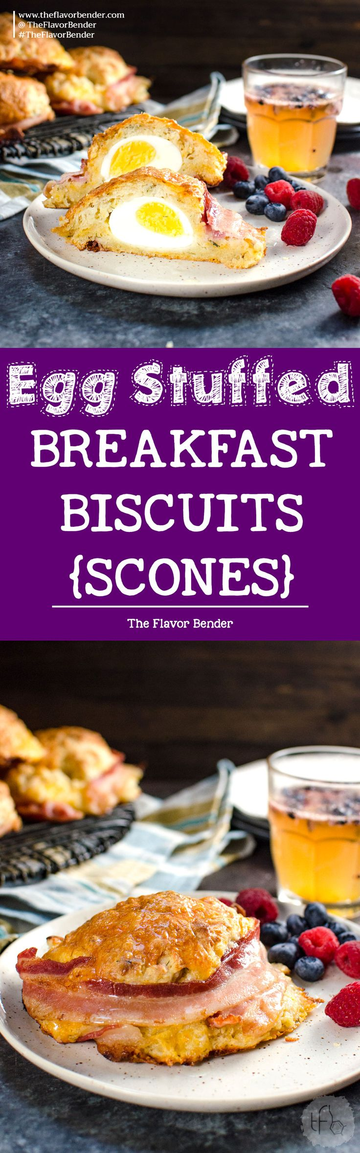 Bacon wrapped Egg Stuffed Breakfast Biscuits (Breakfast Scones) - Cheesy and herby buttermilk biscuits that are delightfully soft in the middle and extra flaky on the outside, and stuffed with a perfectly cooked egg and wrapped with bacon for good measure. Perfect for Brunch. via @theflavorbender