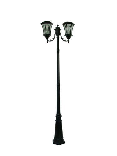 Gamasonic GS 94D 7 Foot Tall Victorian Solar Lamp Post With Two Heads And
