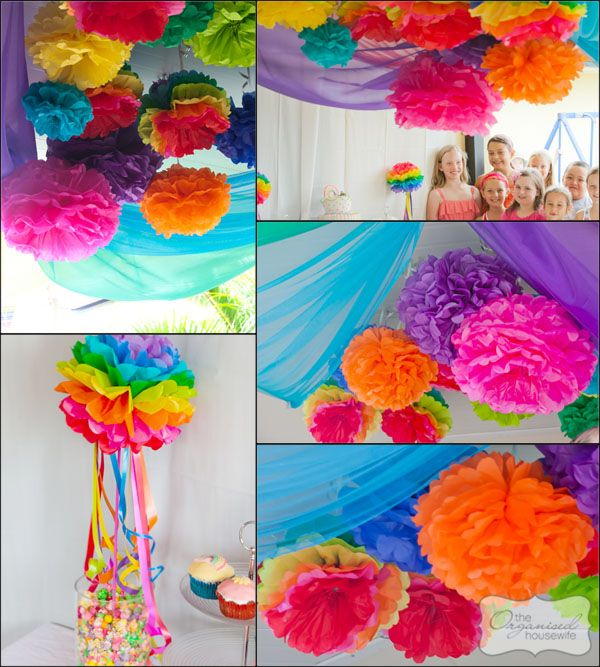 great rainbow pom pom ideas ... love the streamers coming out of the rainbow pom pom.