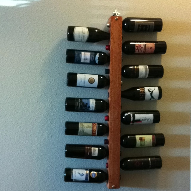 Homemade wine rack my dad made things i should make for Easy homemade wine rack