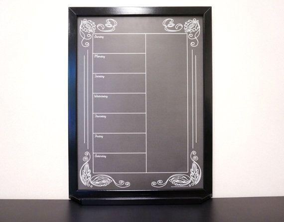 "Black ""Artisan Chalkboard"" Framed Dry Erase Board Calendar"