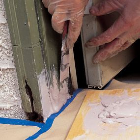 Use polyester filler to rebuild rotted or damaged wood. You can mold or shape to match the original wood profile. It takes paint well and won't rot.