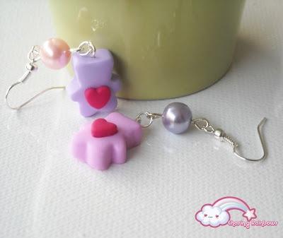 Love is in the Air - Orecchini Mini Couple of Bears (lilla e rosa) #kawaii #cute #sweet #handmade #jewels #love #bears