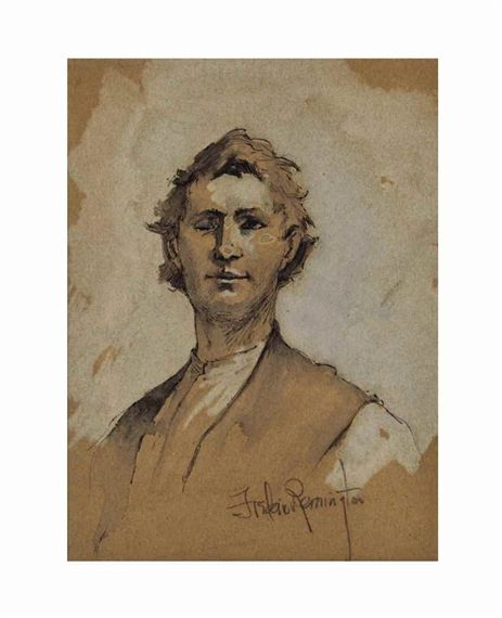 Frederic Remington Portrait of Henry Eike 7.5 X 5.62 in (19.05 X 14.29 cm) Ink, wash and pencil on paper Circa 1892 Signed