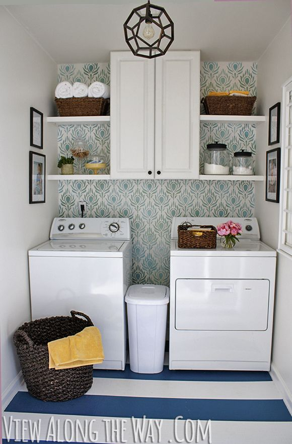 Updated Laundry Room on a budget at View Along the Way, washer and dryer, stenciled wall, turquoise room, painted floor, striped floor, how to paint a striped floor, how to stencil a wall, how to style a laundry room