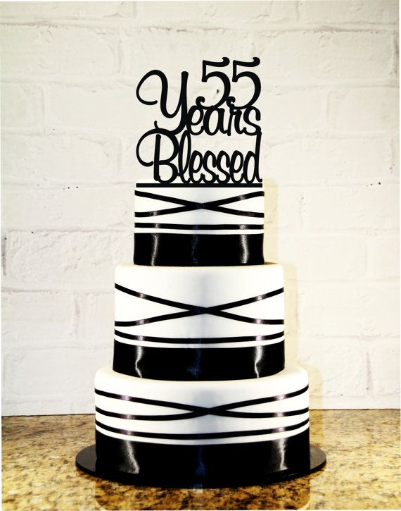 55th Birthday / Wedding Anniversary Cake Topper - 55 Years Blessed Custom