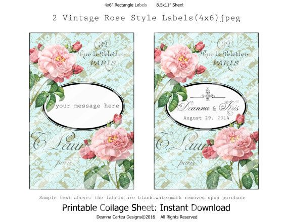 Vintage style printable Labels shabby chic tags by DeannaCartea
