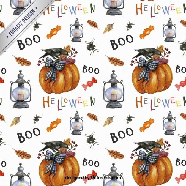 Free vector Cute halloween pattern in autumn style #25645