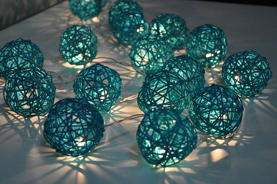 35 Bulbs Turquoise Rattan ball string lights for by ginew on Etsy