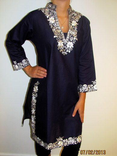 Long Navy Indian Cotton Tunic with white embroidery that is a beautiful fashion tunic.