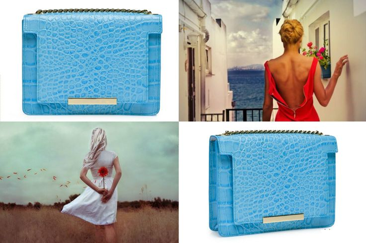 A light blue leather bag with croco effect is an elegant way to stylize your chic dress @w